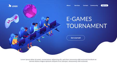 Cybersport team isometric 3D landing page.  イラスト・ベクター素材