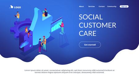 Social media marketing isometric 3D landing page.