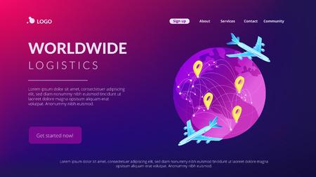 Global transportation system isometric 3D landing page.