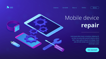 Mobile device repair concept isometric 3D landing page.