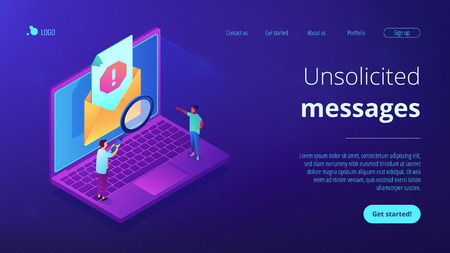 Spam isometric 3D landing page.