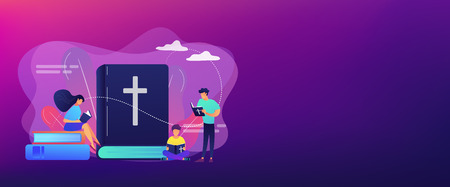 Tiny people christians reading the Holy Bible and learning about Christ. Holy Bible, sacred holy book, the word of God concept. Header or footer banner template with copy space. Illustration