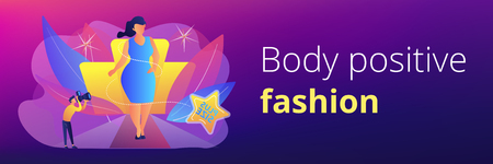 Photographer taking photos of plus size model in runway fashion show. Plus size models, body positive fashion, plus-size clothing modeling concept. Header or footer banner template with copy space. Illustration