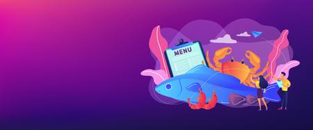 Seafood menu concept banner header.