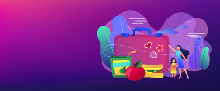 Businesswoman with child pointing to lunch box and sandwich with apple, tiny people. Kids lunch box, lunch box idea, balanced kids nutrition concept. Header or footer banner template with copy space. Illustration
