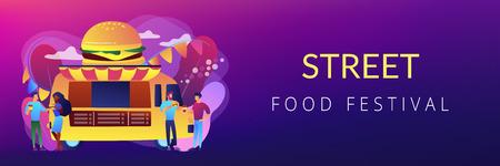 Food festival concept banner header. Illustration