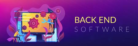 Banner de encabezado o pie de página de desarrollo de back-end