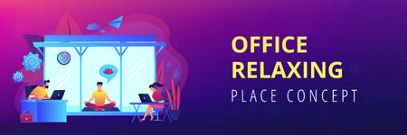 Business people working at laptops in office with meditation and relax area. Office meditation room, meditation pod, office relaxing place concept. Header or footer banner template with copy space.