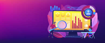 Data analyst oversees and governs income, expenses with magnifier. Financial management system, finance software, IT management tool concept. Header or footer banner template with copy space. Ilustração