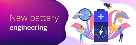 Engineers with battery charging and stars with rocket. Fast charging technology, fast-charge batteries, new battery engineering concept. Header or footer banner template with copy space.