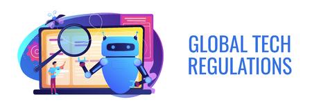 Artificial intelligence regulations concept banner header. Ilustrace