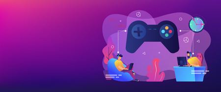Tiny people gamers playing online video game, huge joystick and clock. Gaming disorder, video gaming addiction, decreased attention span concept. Header or footer banner template with copy space.