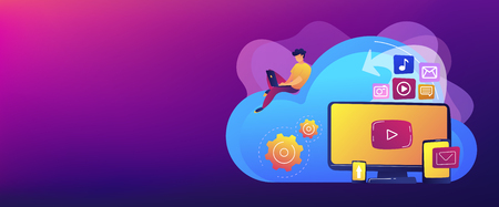 Digital devices and businessman with laptop on cloud using IaaS. Cloud based engine, infrastructure as a service, virtual machine on demand concept. Header or footer banner template with copy space.