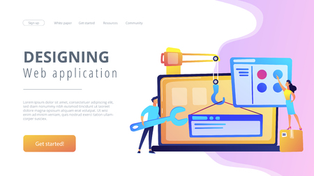 It professionals are creating web site on the laptop screen. Website development or web application, coding, designing for web browsers concept. Violet palette. Website landing web page template. Stock fotó - 124158584