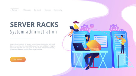 System administrators or sysadmins are servicing server racks. System administration, upkeeping, configuration of computer systems and networks concept. Violet color. Website landing web page template.