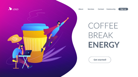A man sitting tired at the desk and another flying full of energy after cup of coffee. Coffee break, low energy, tiredness, energizing concept, violet palette. Website landing web page template. Illustration