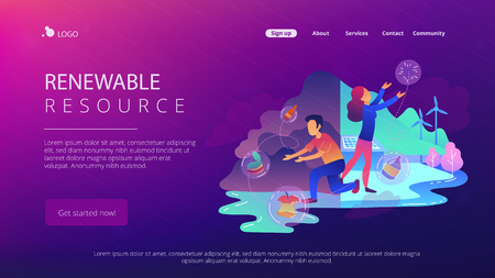 People sorting garbage try to reach zero waste. Technology of ecological waste free journey focusing on landfill trash. Renewable resource landing page. Vector illustration on ultraviolet background 向量圖像