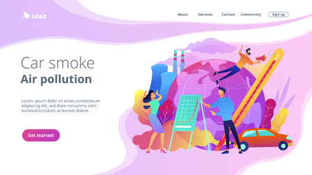People in panic to announce global heating data. Car smoke air pollution landing page. Globe with power plant, traffic fumes, global heating impact. Violet palette. Vector illustration on background