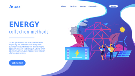 Battery energy storage from renewable solar and wind power station. Energy storage, energy collection methods, electrical power grid concept. Website vibrant violet landing web page template. Ilustração