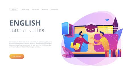 Online tutor concept landing page.