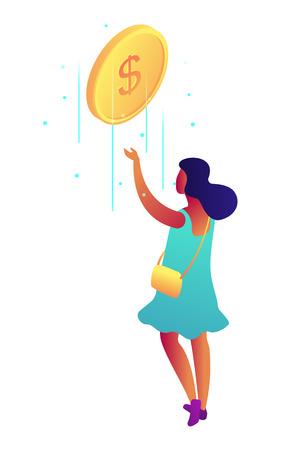 Businesswoman catching falling dollar coin, tiny people isometric 3D illustration. Income and savings, earnings and business success, payment and wealth concept. Isolated on white background.