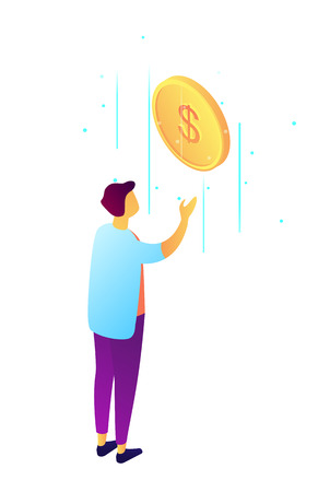 Businessman catches falling dollar coin, tiny people isometric 3D illustration. Income and savings, earnings and business success, profit and investment concept. Isolated on white background. Vektoros illusztráció