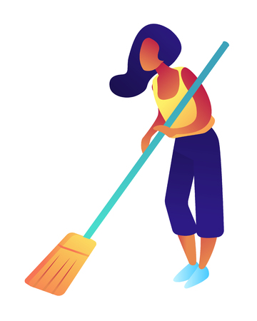Woman holding a broom and sweeping the floor, tiny people isometric 3D illustration. Housewife cleaning the floor, housekeeping, cleaning service and equipment concept. Isolated on white background. Ilustração