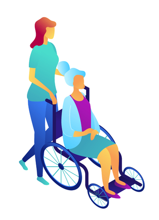 Nurse pushing wheelchair with elderly woman patient, tiny people isometric 3D illustration. Nursing home and healthcare, elderly care and assisted living concept. Isolated on white background.