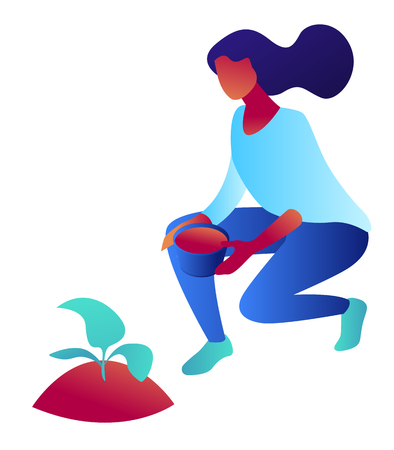 Woman with pot sitting and growing a plant, tiny people isometric 3D illustration. Gardening, female gardener planting, growing and cultivating plants concept. Isolated on white background.