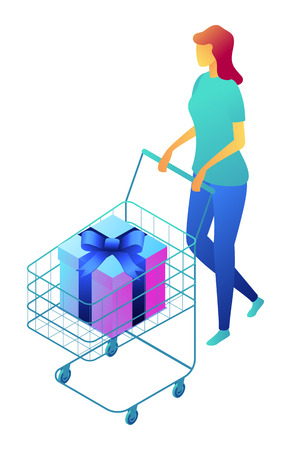 Female shopper pushing shopping cart with gift box, tiny people isometric 3D illustration. Buying presents, satisfied customer, supermarket and buyer concept. Isolated on white background.