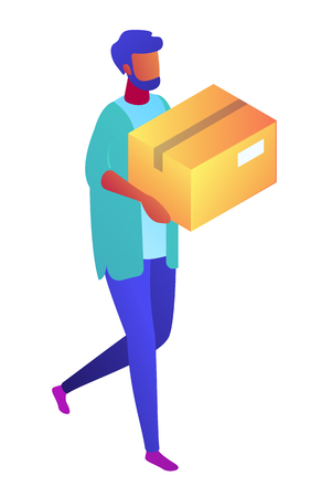Delivery man carrying a cardboard box, tiny people isometric 3D illustration. Package delivery, courier and delivery service employee, donation box concept. Isolated on white background.