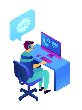 Operator with headset at computer working and speech bubble with new, tiny people isometric 3D illustration. Cold calling, telemarketing sales representative concept. Isolated on white background.