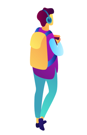 Male student walking with backpack, headphones and holding coffee isometric 3D illustration. Highschool student, hipster, teenager leisure and lifestyle concept. Isolated on white background. Foto de archivo - 124142256