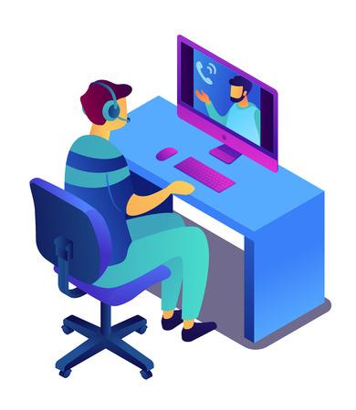 Geschäftsmann mit Headset am Computer, der online mit Videoanruf-App spricht, winzige Leute. Online-Meeting und -Konferenz, Online-Webinar und -Schulung, Vorstellungsgesprächskonzept. Isoliert auf weißem Hintergrund.