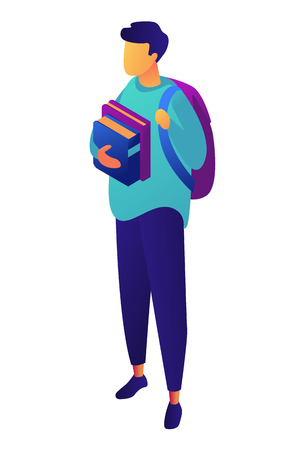 Male student standing with backpack holding books, tiny people isometric 3D illustration. College and school teenager, university and exams, education concept. Isolated on white background. Illustration
