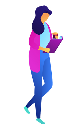 Female student walking with coffee and reading a book, tiny people isometric 3D illustration. Education ans university, knowledge and literature, college student concept. Isolated on white background.