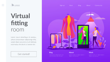 Virtual fitting room vector landing page template.