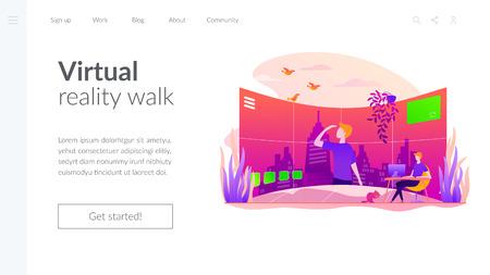 Modèle de page de destination vectorielle de visite virtuelle.