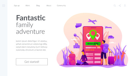 Online booking services vector landing page template.