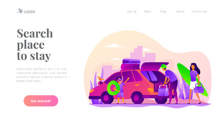 Family vacation vector landing page template. Stock Illustratie