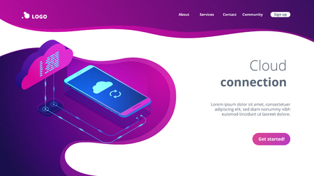 Mobile phone connected to the cloud technology and synchronizing data process. Cloud connection, remote data storage, online data transfer concept. Isometric 3D website app landing web page template