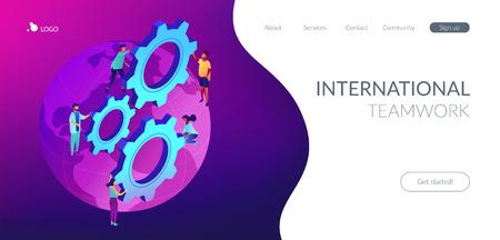 Business people international team turning gears on the globe. International business, global business collaboration, international teamwork concept. Isometric 3D website app landing web page template