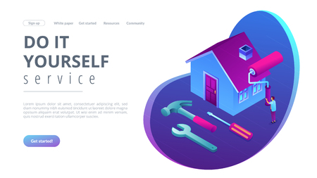 Businessman renovating house with paint roller and DIY home repair tools. DIY repair, do it yourself service, self-service learning concept. Isometric 3D website app landing web page template Stock Illustratie
