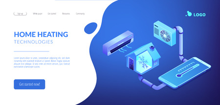 Smart house and air conditioning system controlled with smartphone. Air conditioning, smart cooling system, air conditioning units concept. Isometric 3D website app landing web page template Foto de archivo - 124042278