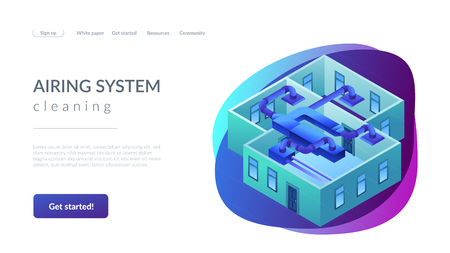 Indoor ventilation system pipes in the apartment. Ventilation system, energy recovery ventilation, airing system cleaning concept. Isometric 3D website app landing web page template