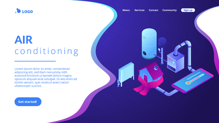Smart house heating and climat monitoring system controlled with smartphone. Heating system, home heating technologies, home energy economy concept. Isometric 3D website app landing web page template