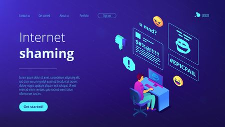 Targeted victim at computer abused and attacked online and cyberbullying. Internet shaming, online harassment, cyber crime action concept. Isometric 3D website app landing web page template Illustration