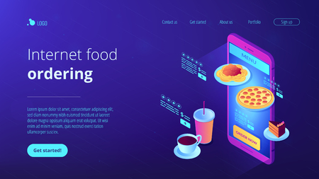Choose fast food and drink on menu online with smartphone app and order now. Online order, internet food ordering, digital restaurant menu concept. Isometric 3D website app landing web page template Illustration