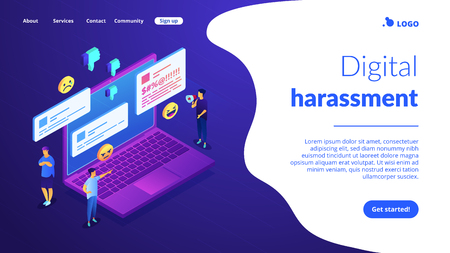 Troll quarreling and upsetting tiny people on internet with dislikes and messages. Internet trolling, digital harassment, internet behaviour concept. Isometric 3D website app landing web page template Illustration