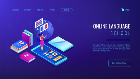 Tutor standing on smartphone and teaching foreign languages. Online language school, recorded digital class, online language tutor concept. Isometric 3D website app landing web page template